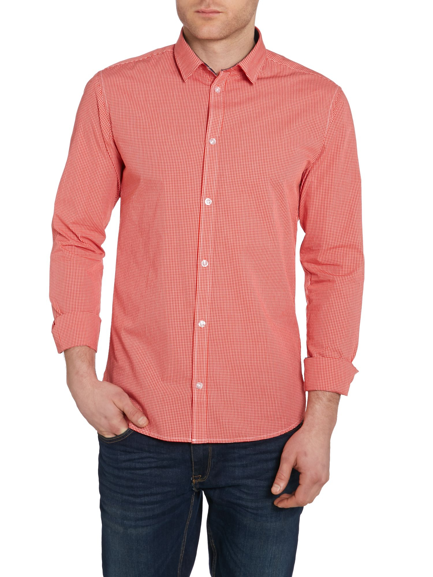 Casual Friday Check Slim Fit Long Sleeve Shirt In Red For
