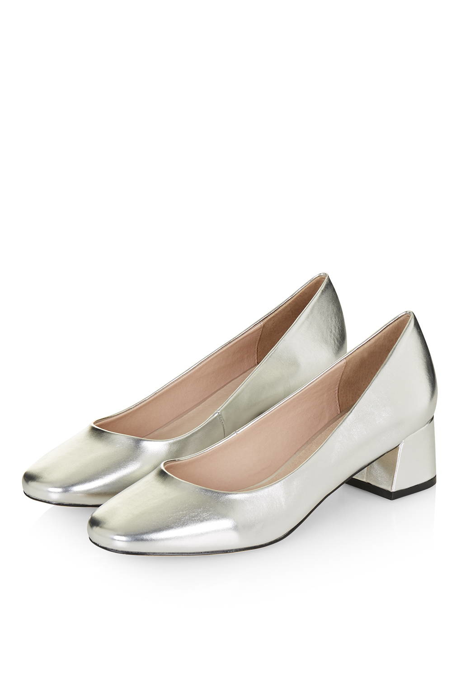 Mid Heel Shoes Silver Metallic