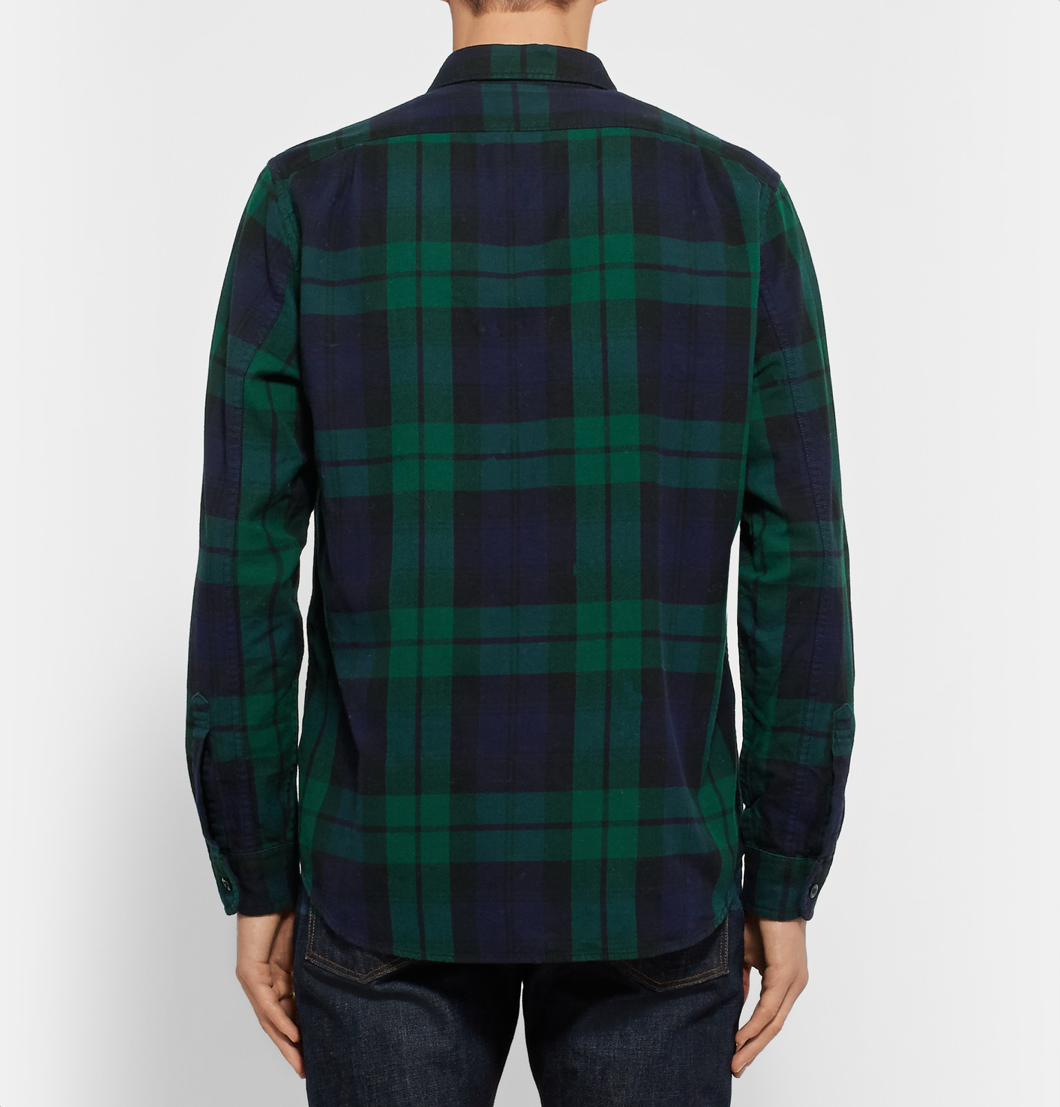 Black watch checked cotton flannel shirt in green for Black watch flannel shirt
