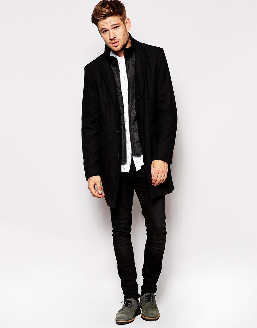 Selected Selected Wool Coat With Detachable Lining in Black for