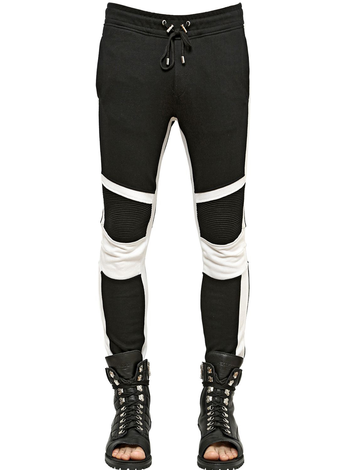Balmain Biker Style Cotton Jogging Pants In Black For Men