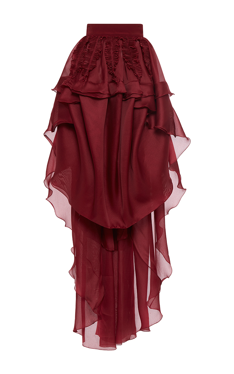 422c1e4e41 Antonio Berardi Tiered Ruffle Maxi Skirt in Red - Lyst