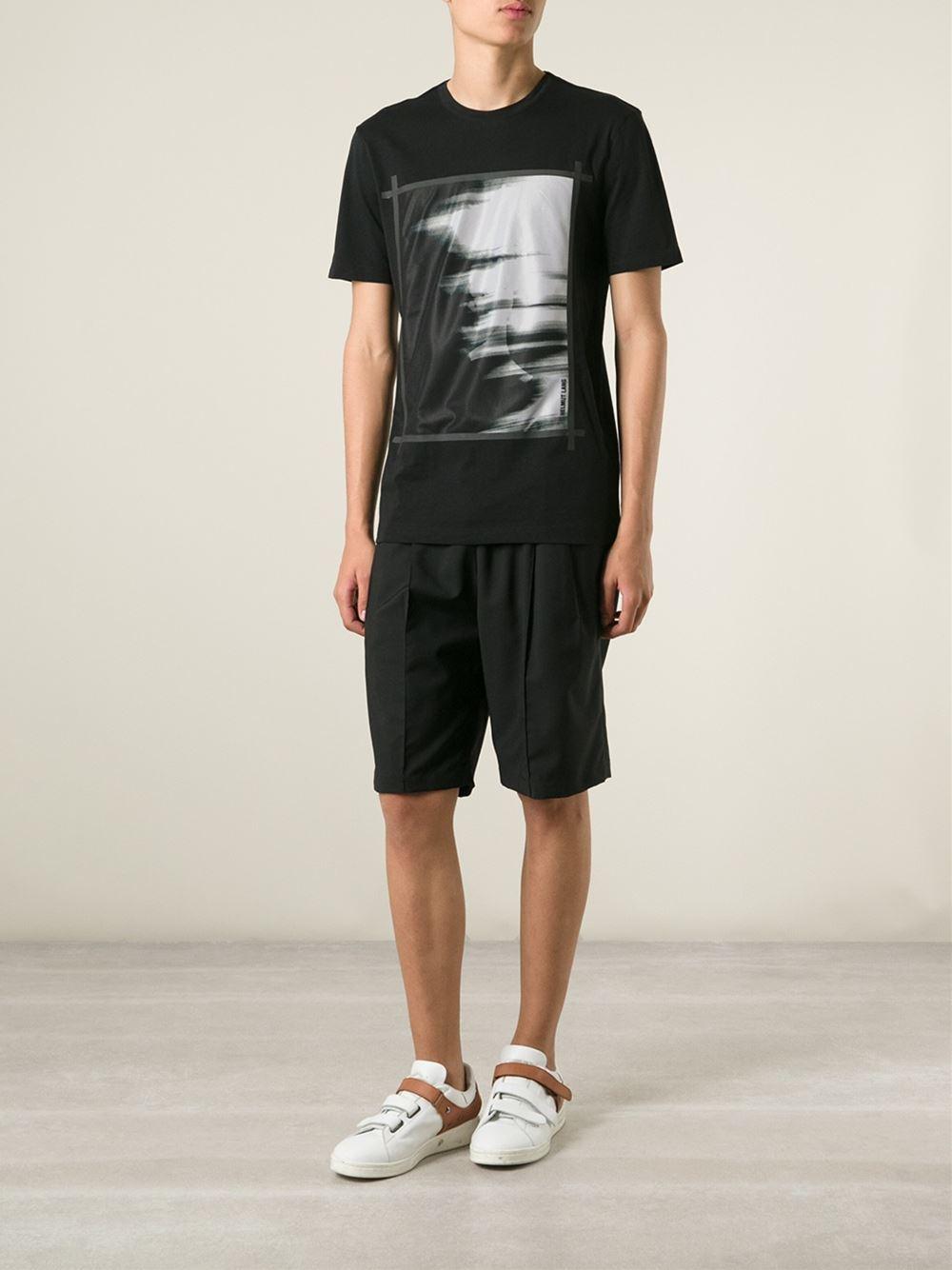helmut lang 39 ghost 39 mesh panel t shirt in black for men lyst. Black Bedroom Furniture Sets. Home Design Ideas
