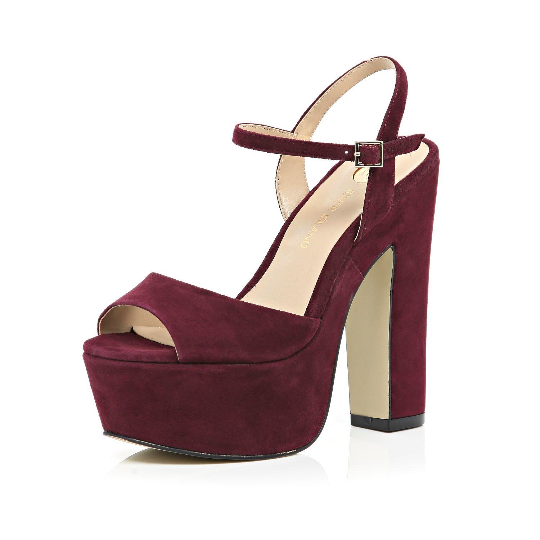 Dark Red Platform Heels - Is Heel