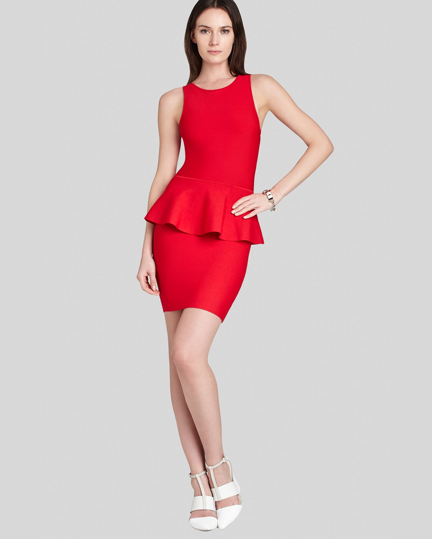 Lyst - Bcbgmaxazria Dress - Francis Layered Peplum in Red