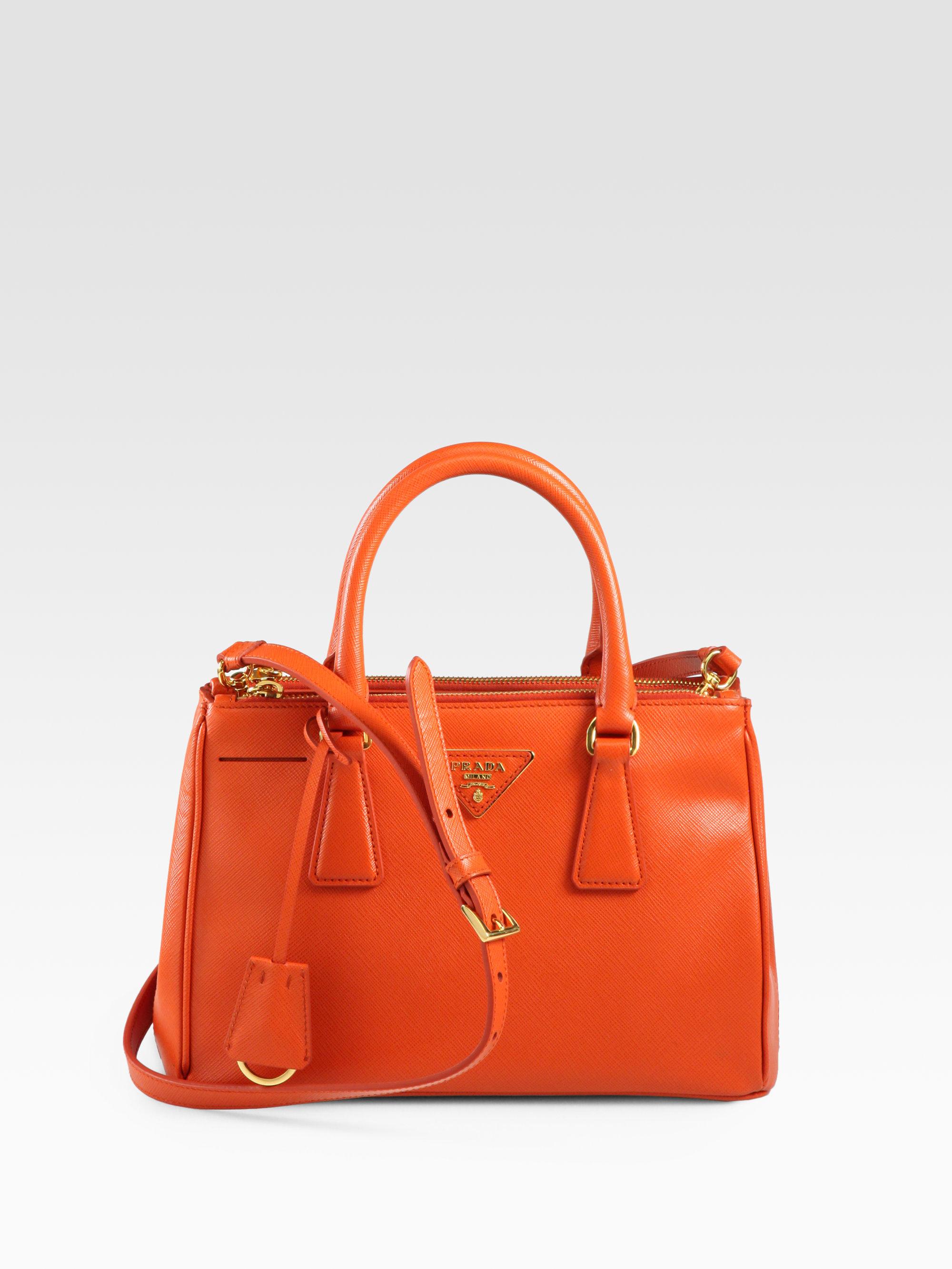 330c858a8179 ... new arrivals lyst prada saffiano lux small double zip tote in orange  d3921 1904b
