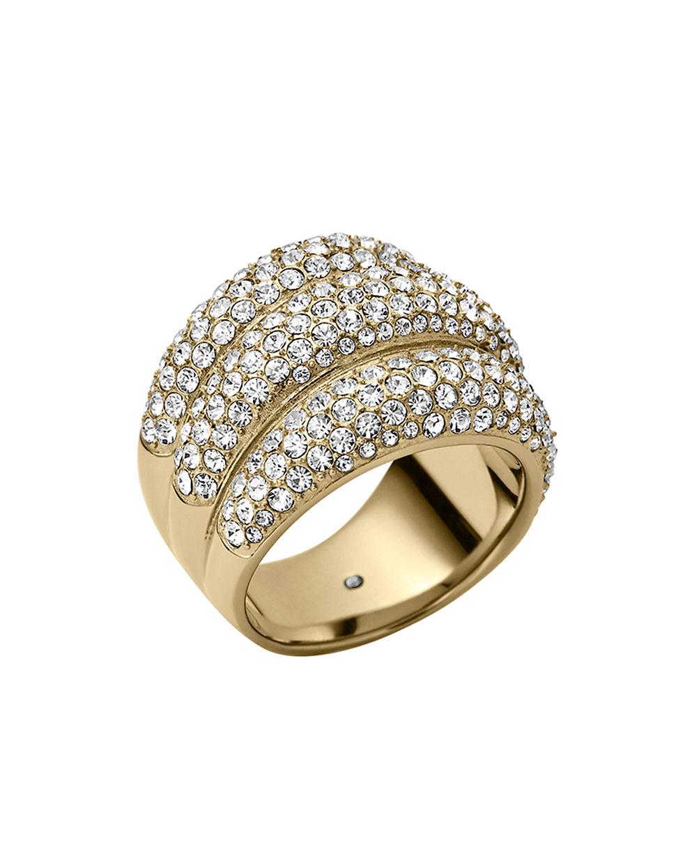 michael kors goldtone crystal triple stack ring in gold lyst. Black Bedroom Furniture Sets. Home Design Ideas