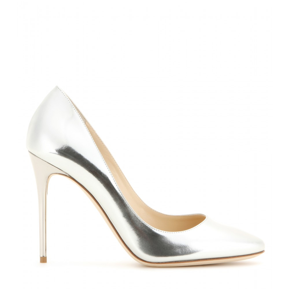 Silver Leather Heels