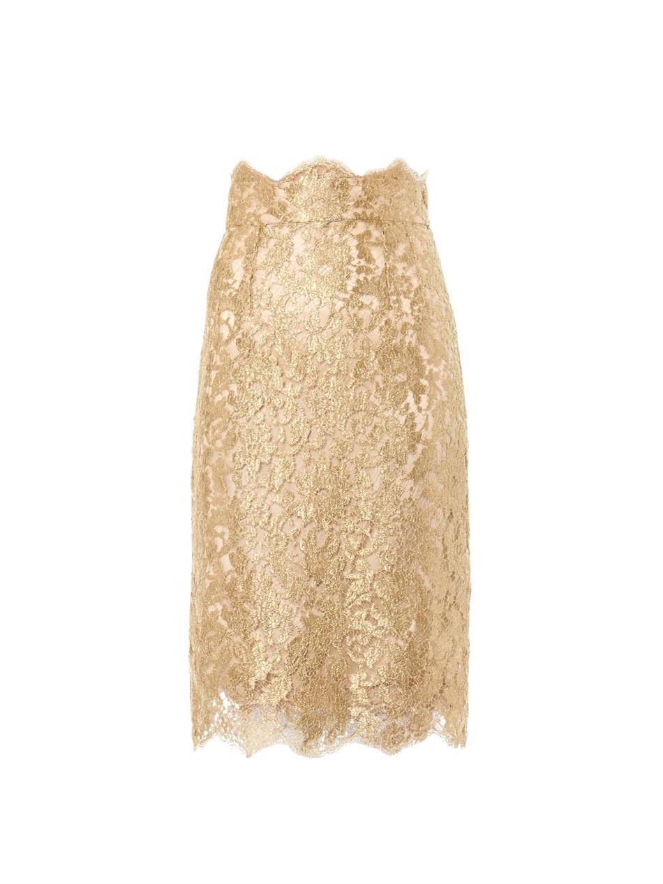 Dolce & gabbana Metallic Lace Pencil Skirt in Brown | Lyst
