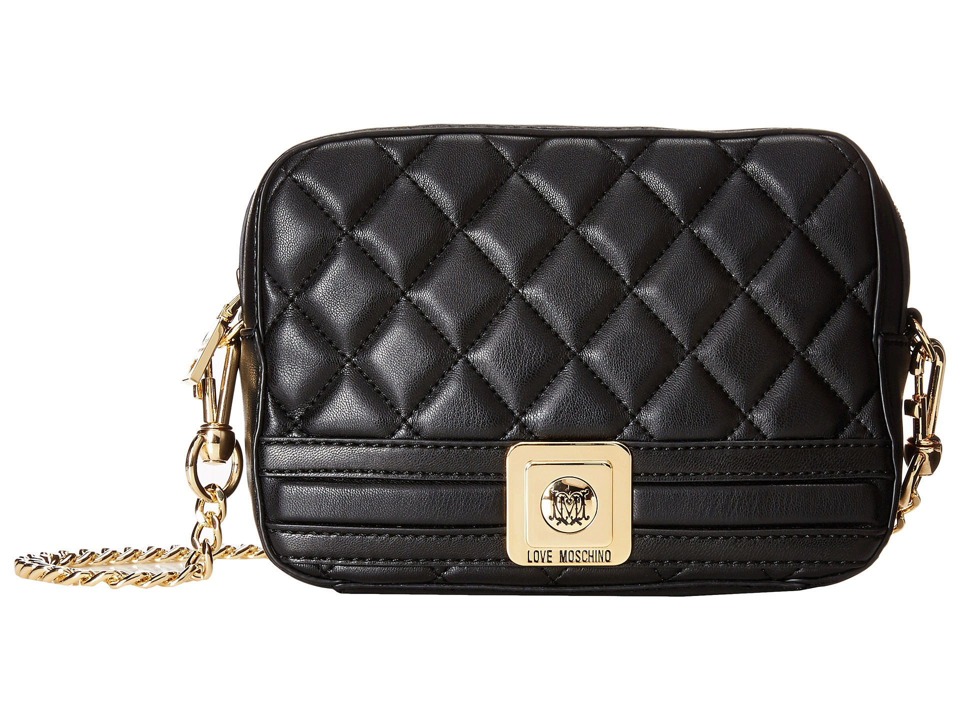 love moschino quilted square crossbody bag in black lyst. Black Bedroom Furniture Sets. Home Design Ideas