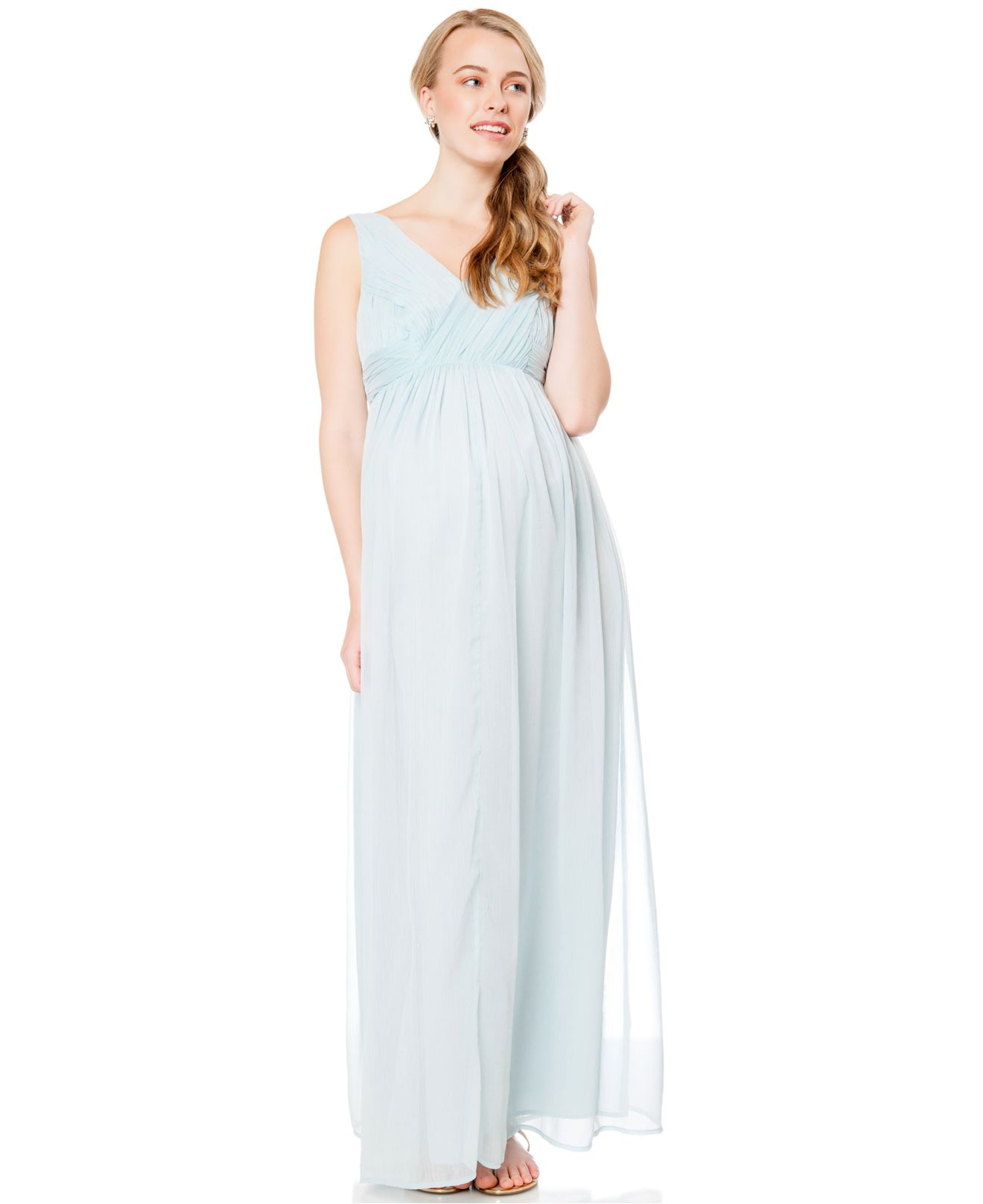Jessica simpson maternity sleeveless maxi dress in blue lyst gallery ombrellifo Gallery