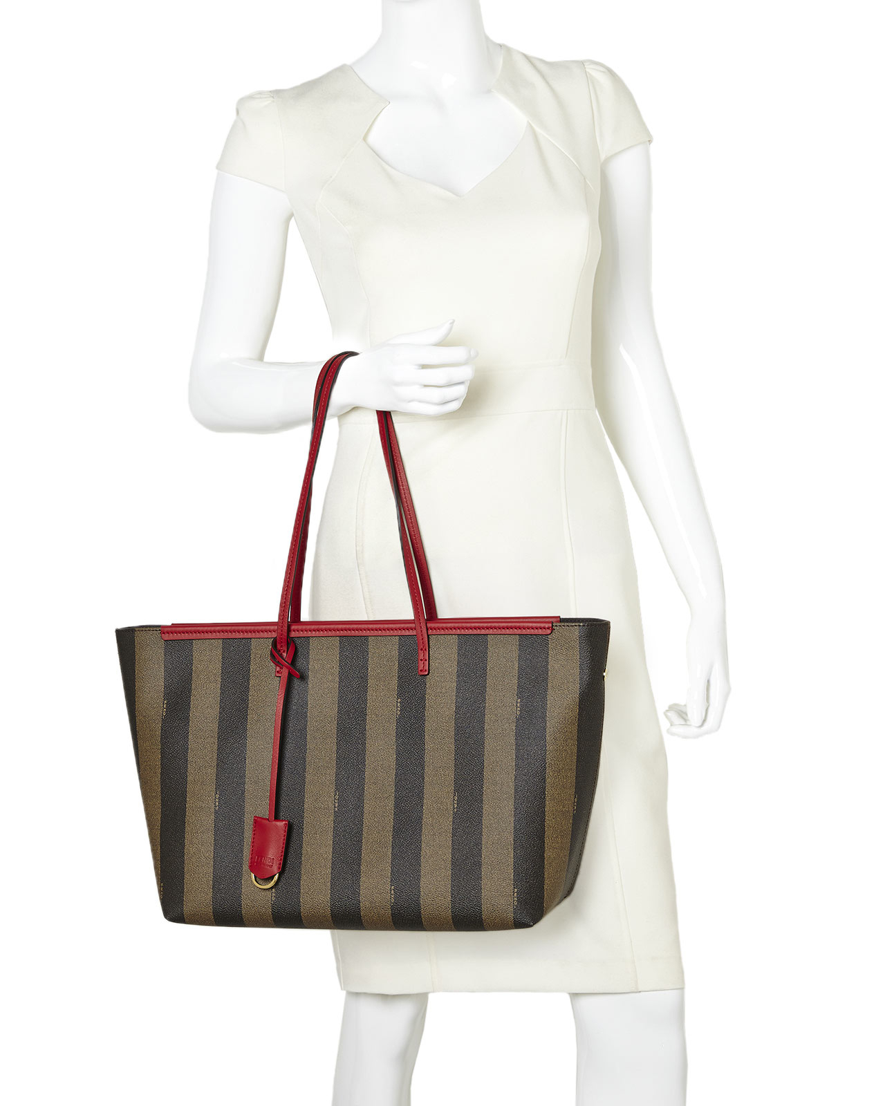 Lyst - Fendi Tobacco   Red Pequin Roll Tote in Brown 4eaf061a31