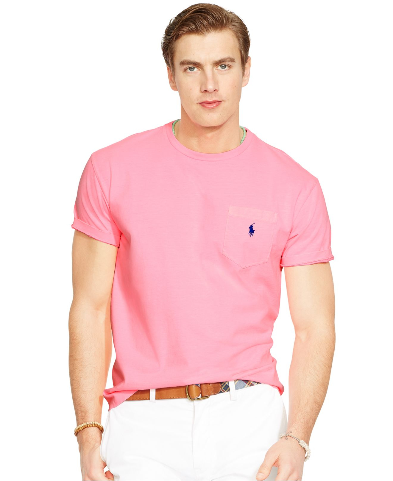 Lyst polo ralph lauren classic fit neon jersey pocket for What is polo neck t shirts