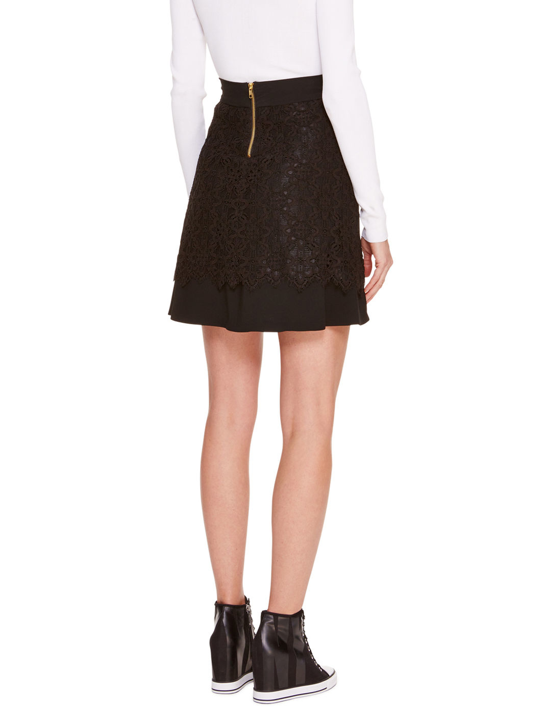 Dkny Lace Overlay A-line Skirt in Black | Lyst