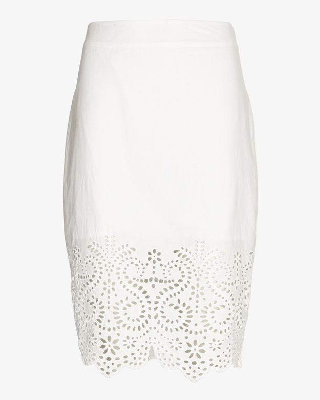Jenni kayne Cotton Cutout Pencil Skirt in White | Lyst