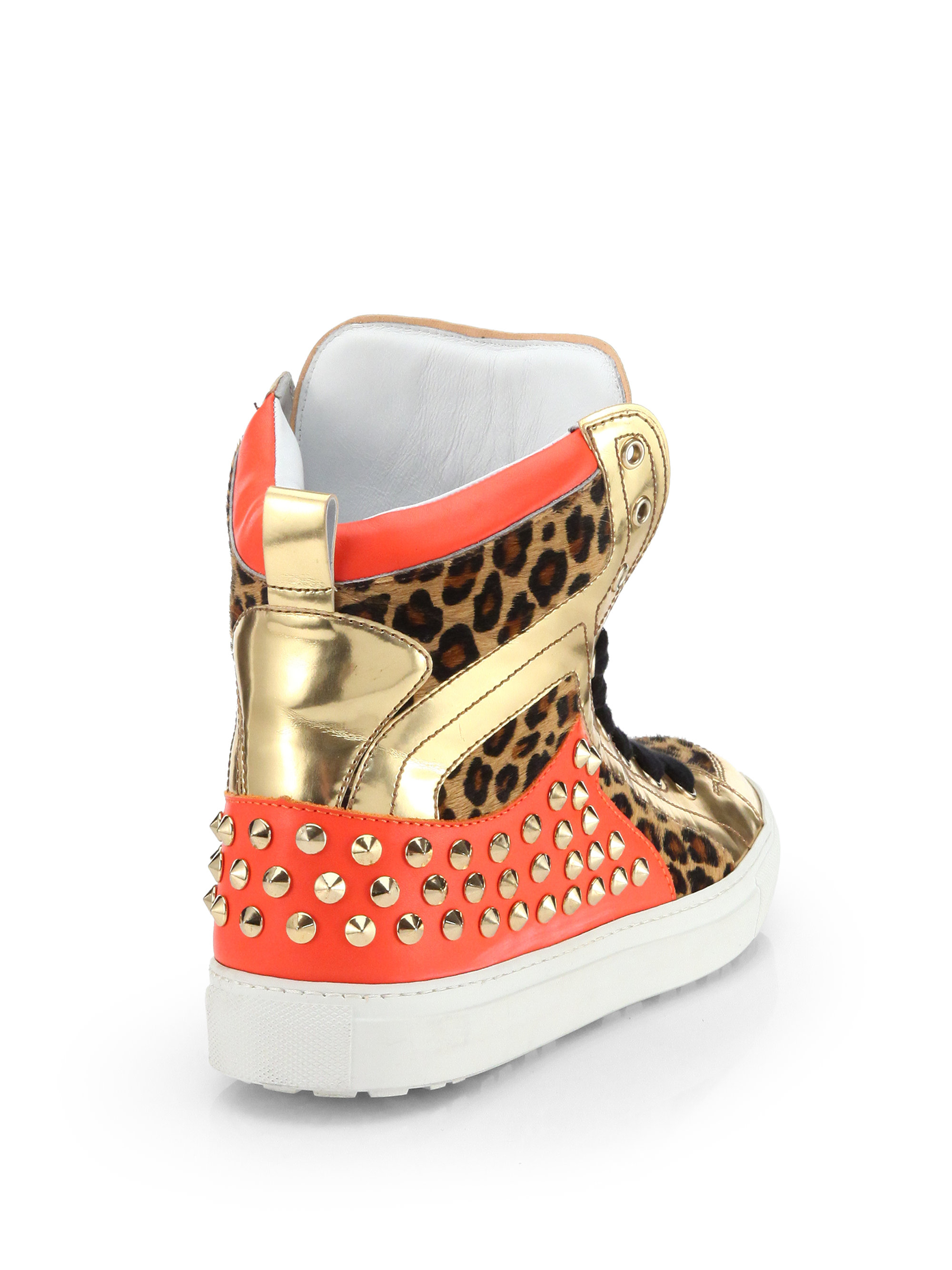 ddcb72662da6 DSquared² Leopard-Print Pony Hair Studded High-Top Sneakers in ...