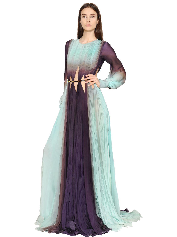lyst roberto cavalli gradient plisse silk chiffon gown in blue. Black Bedroom Furniture Sets. Home Design Ideas