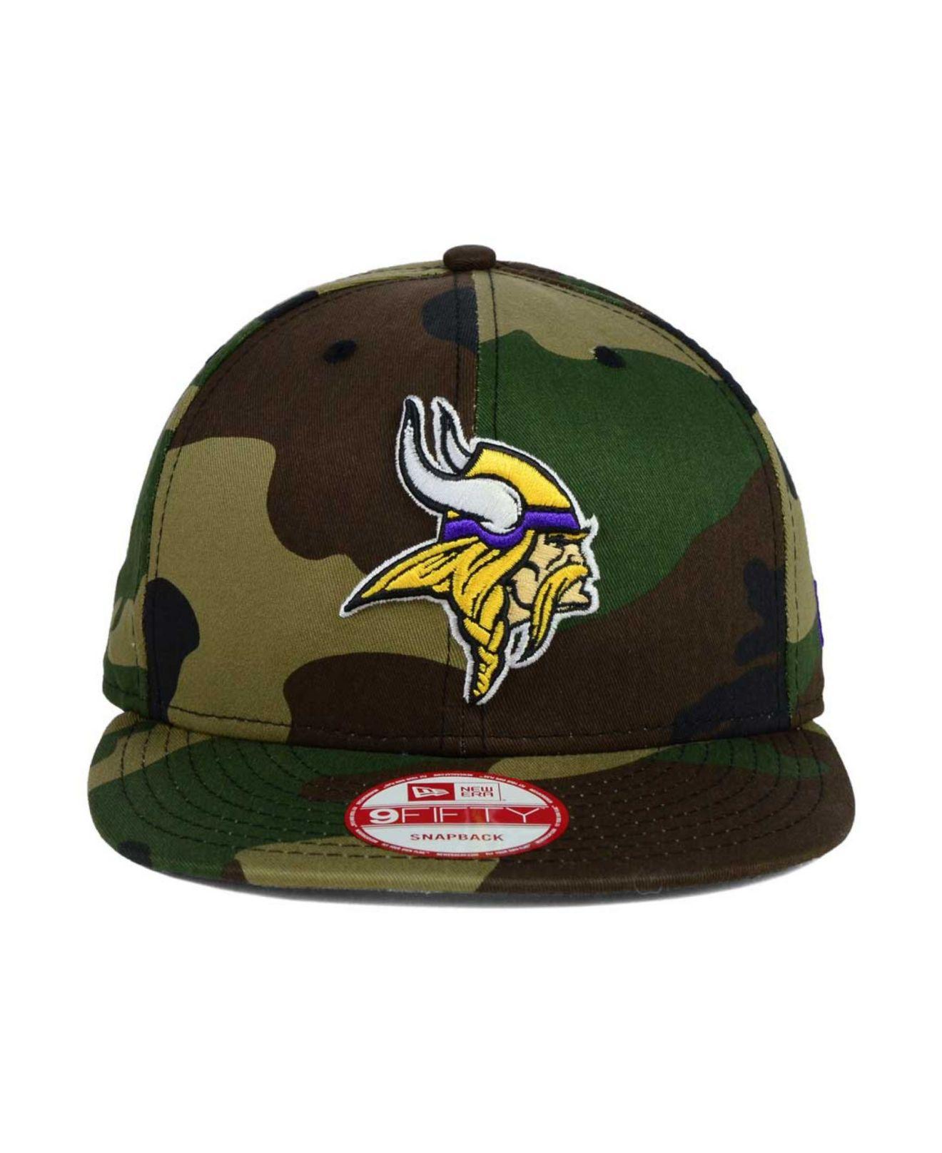 bfc4869e8 KTZ Minnesota Vikings Woodland Camo Team Color 9Fifty Snapback Cap ...