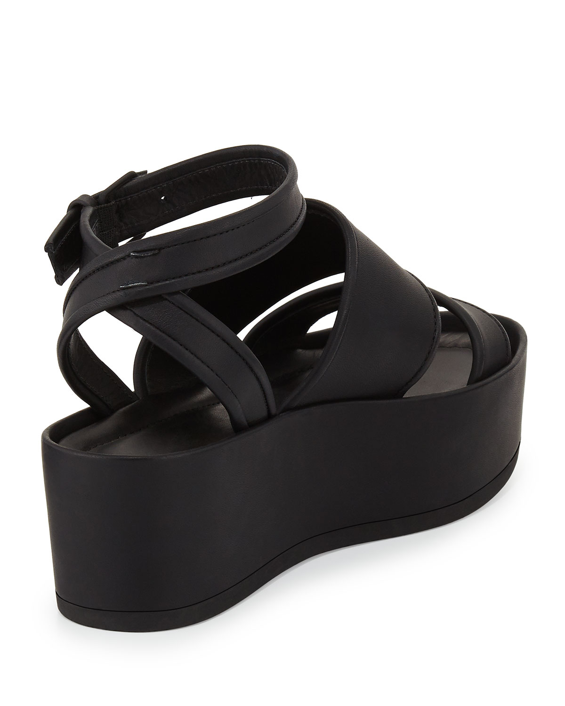 6ee9a26fbf1 Lyst - Vince Vienna Flat Platform Ankle-wrap Sandal in Black
