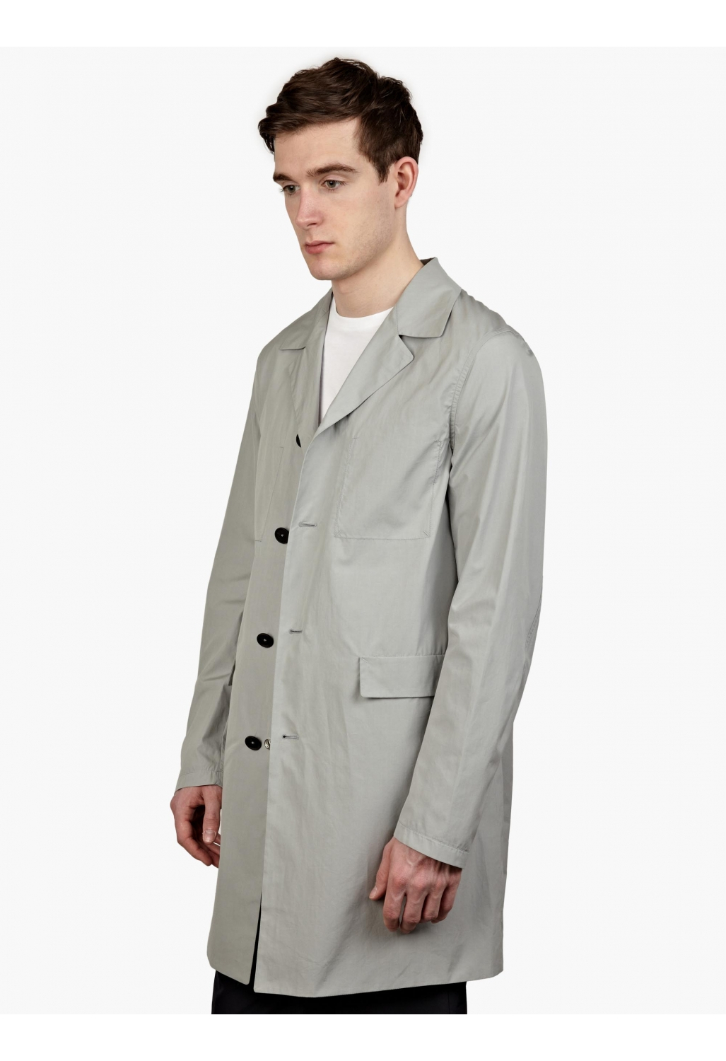 jil sander men s grey reversible raincoat in gray for men. Black Bedroom Furniture Sets. Home Design Ideas