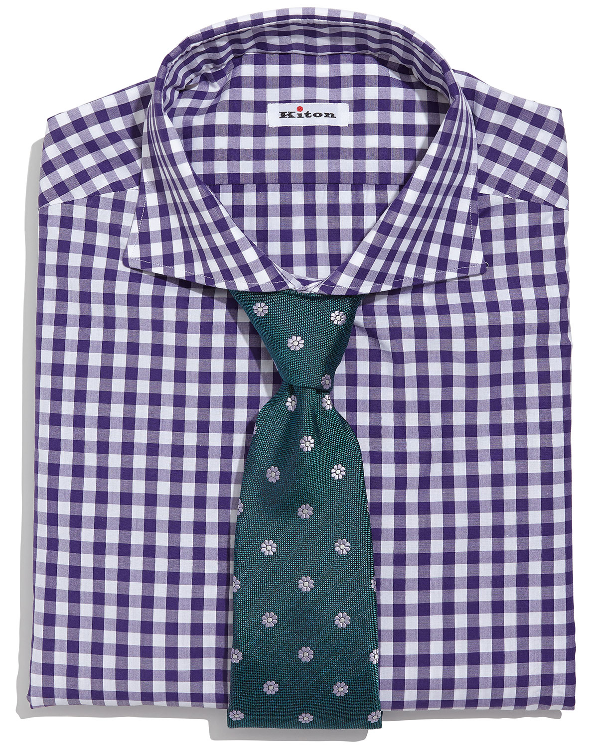 Lyst Kiton Gingham Check Dress Shirt In Purple For Men