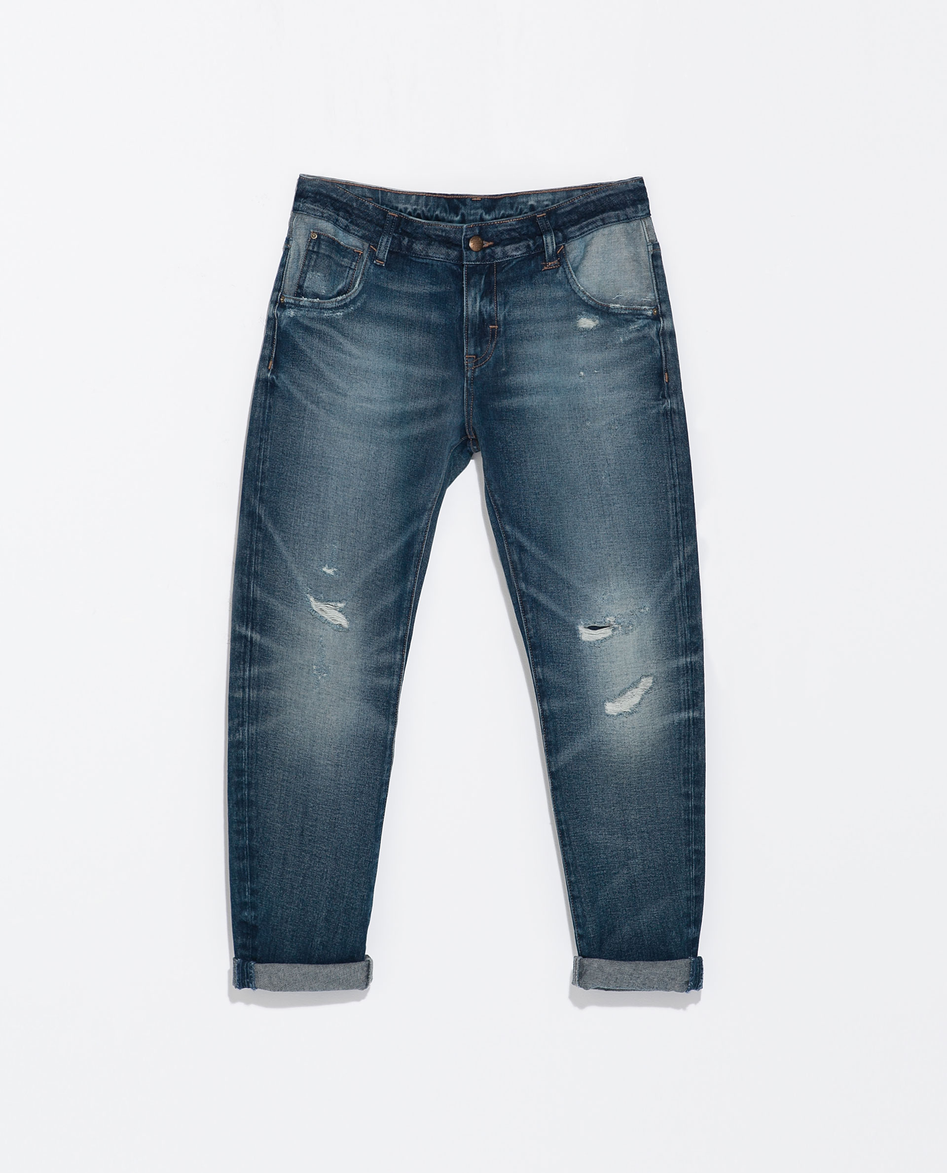 zara washedeffect boyfriend jeans with rips in blue. Black Bedroom Furniture Sets. Home Design Ideas