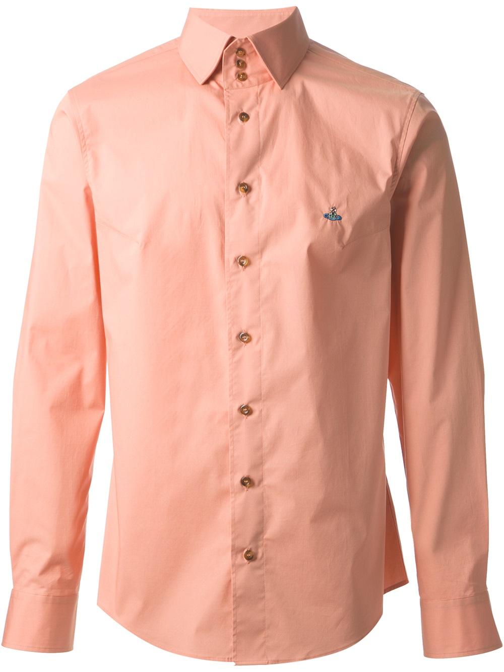 Lyst Vivienne Westwood High Collar Shirt In Orange For Men