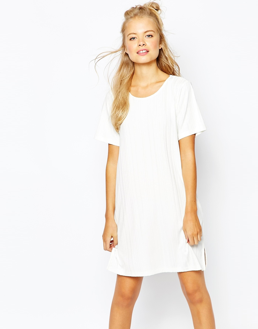 Monki ribbed t shirt dress with side split in white lyst for Dressy white t shirt