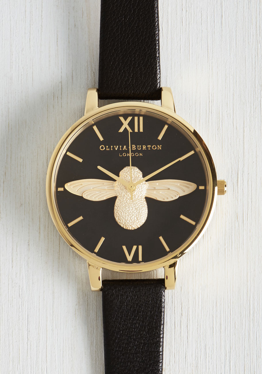 Olivia burton bee there in a minute watch in gold in gold black lyst for Watches gold