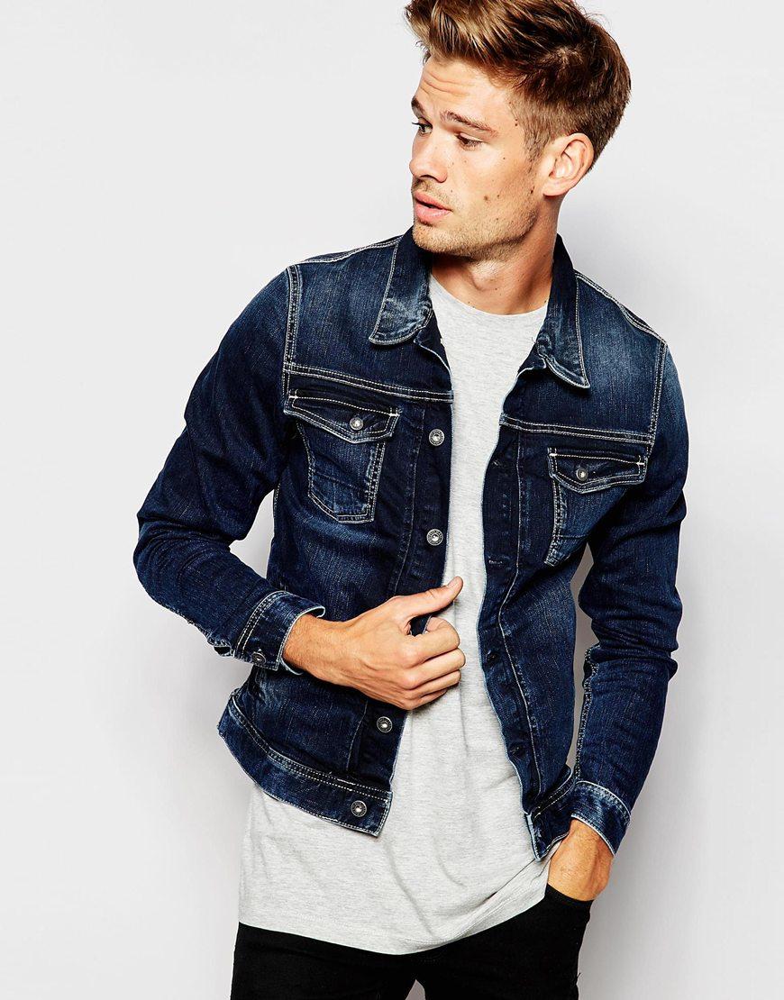 c01948a8a671 Pepe Jeans Pepe Denim Jacket Rooster Slim Fit Stretch Blue Black ...