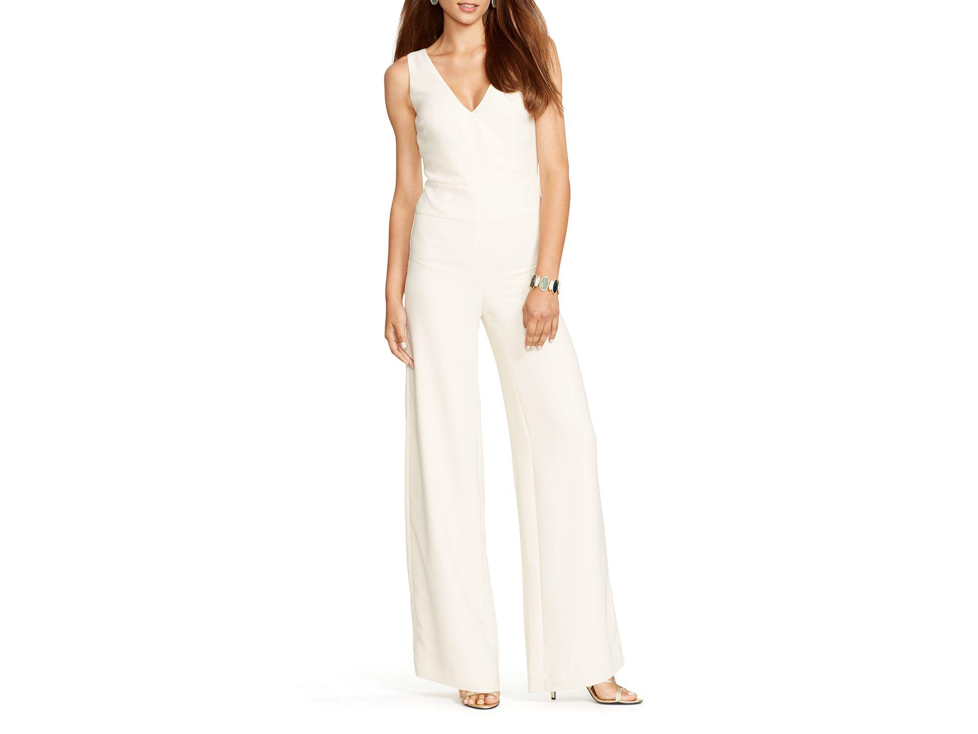 198bfb63c88c Lyst - Lauren by Ralph Lauren Faux Wrap Jumpsuit in Natural