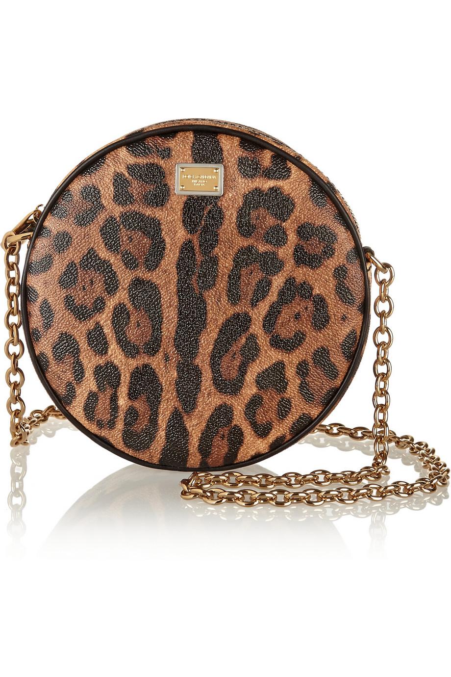 Dolce Amp Gabbana Glam Leopard Print Faux Leather Shoulder
