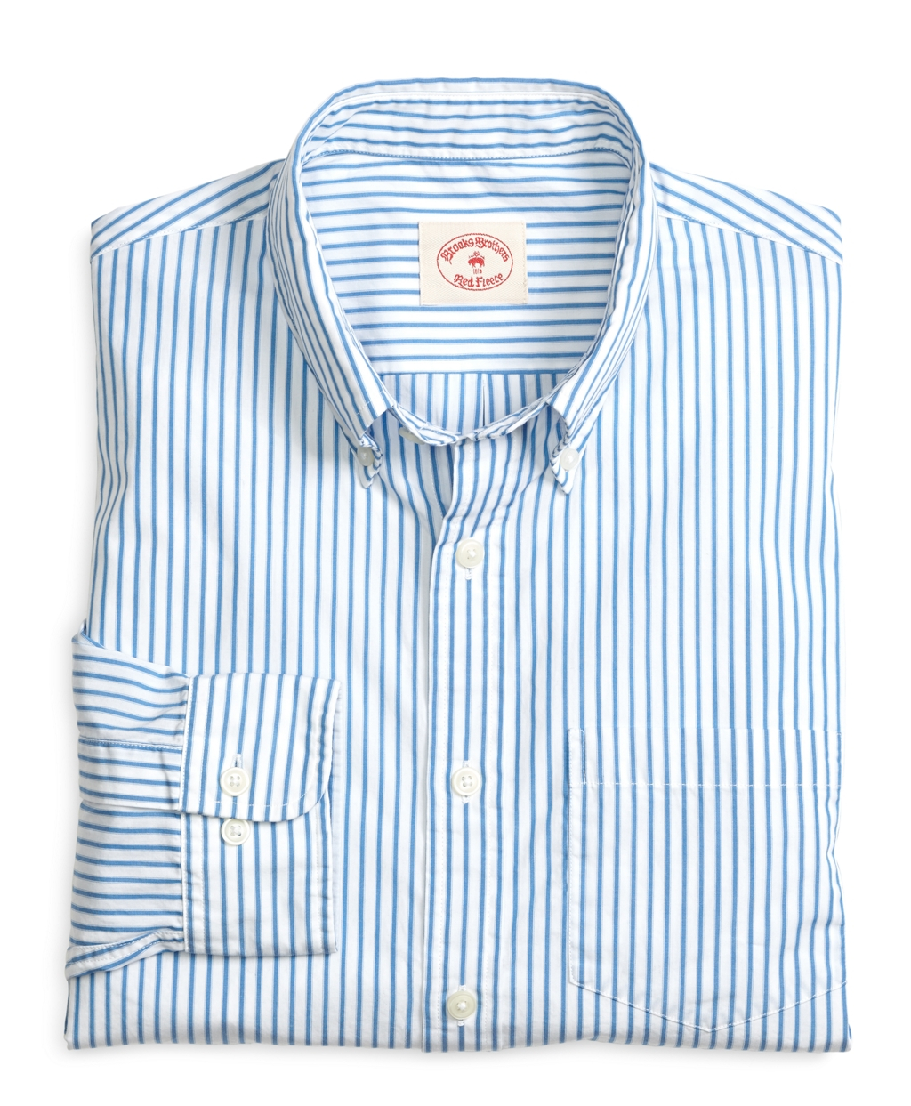 Lyst brooks brothers blue ticking stripe sport shirt in for Brooks brothers sports shirts