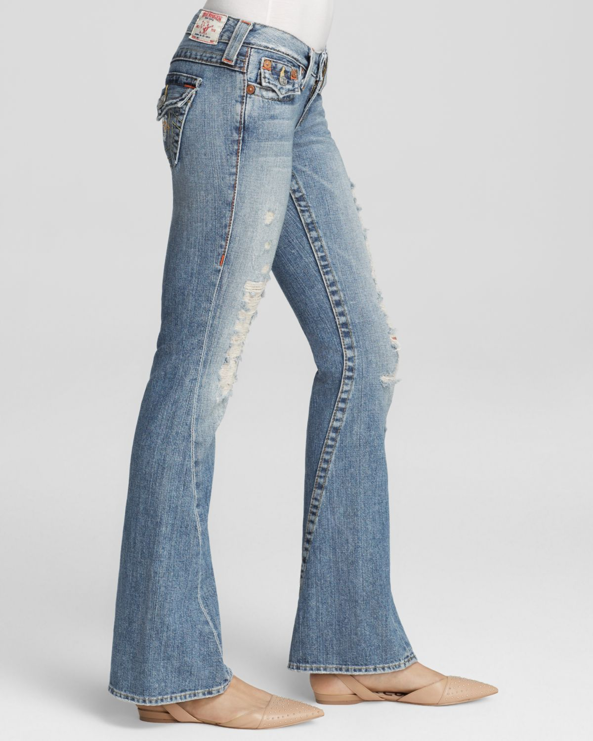 True religion Joey Original Low Rise Flare Jeans In Destroyed in ...