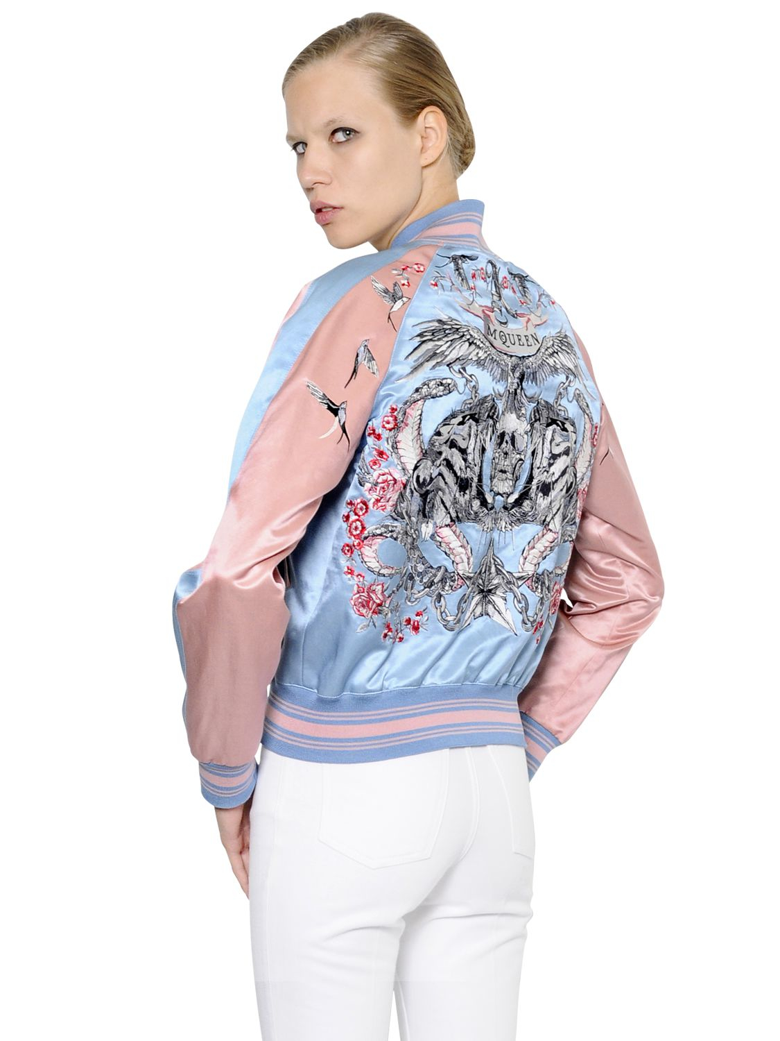 Alexander mcqueen Embroidered Cotton & Silk Bomber Jacket in Pink ...