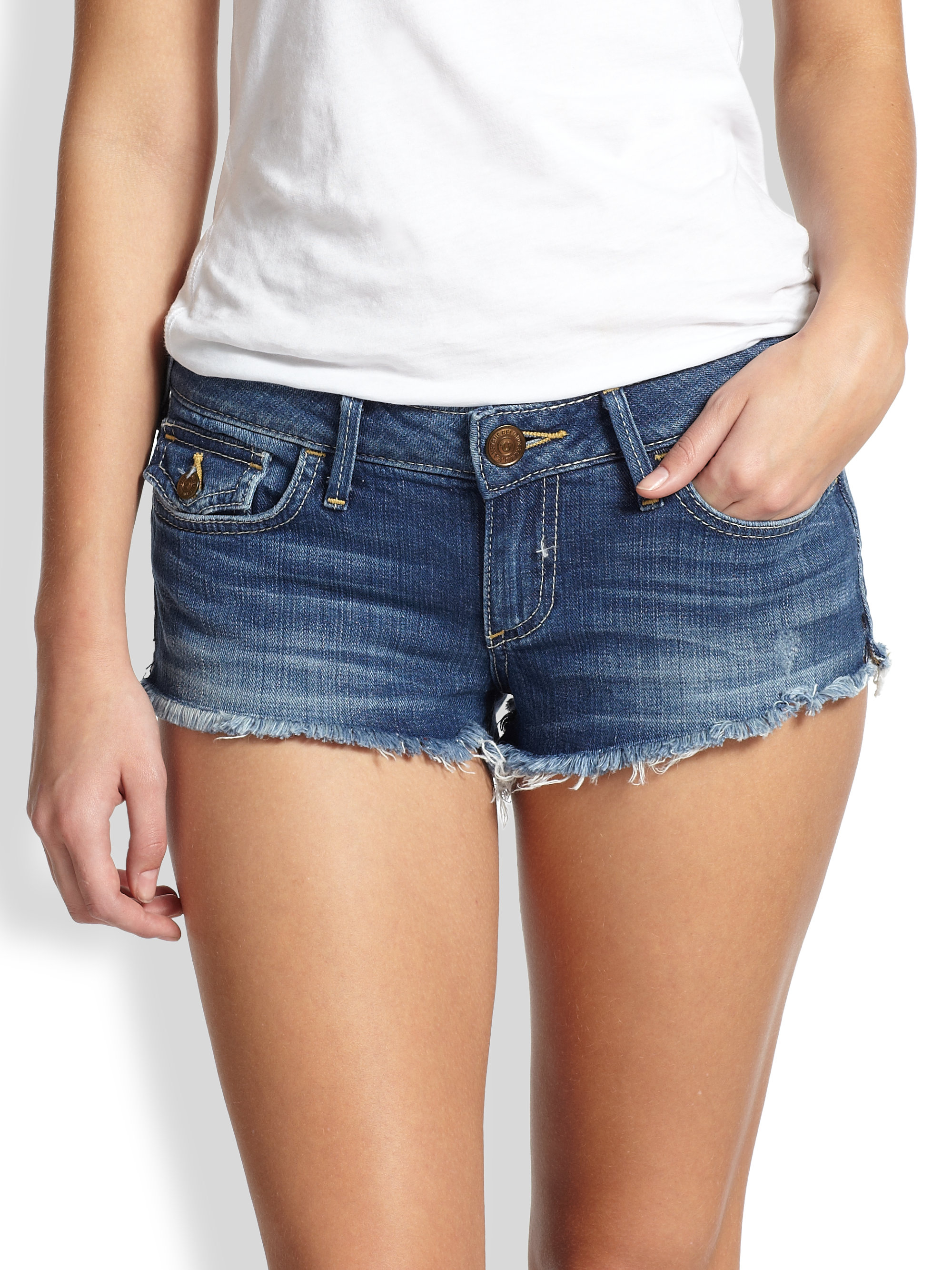 True religion Joey Cutoff Denim Shorts in Blue | Lyst