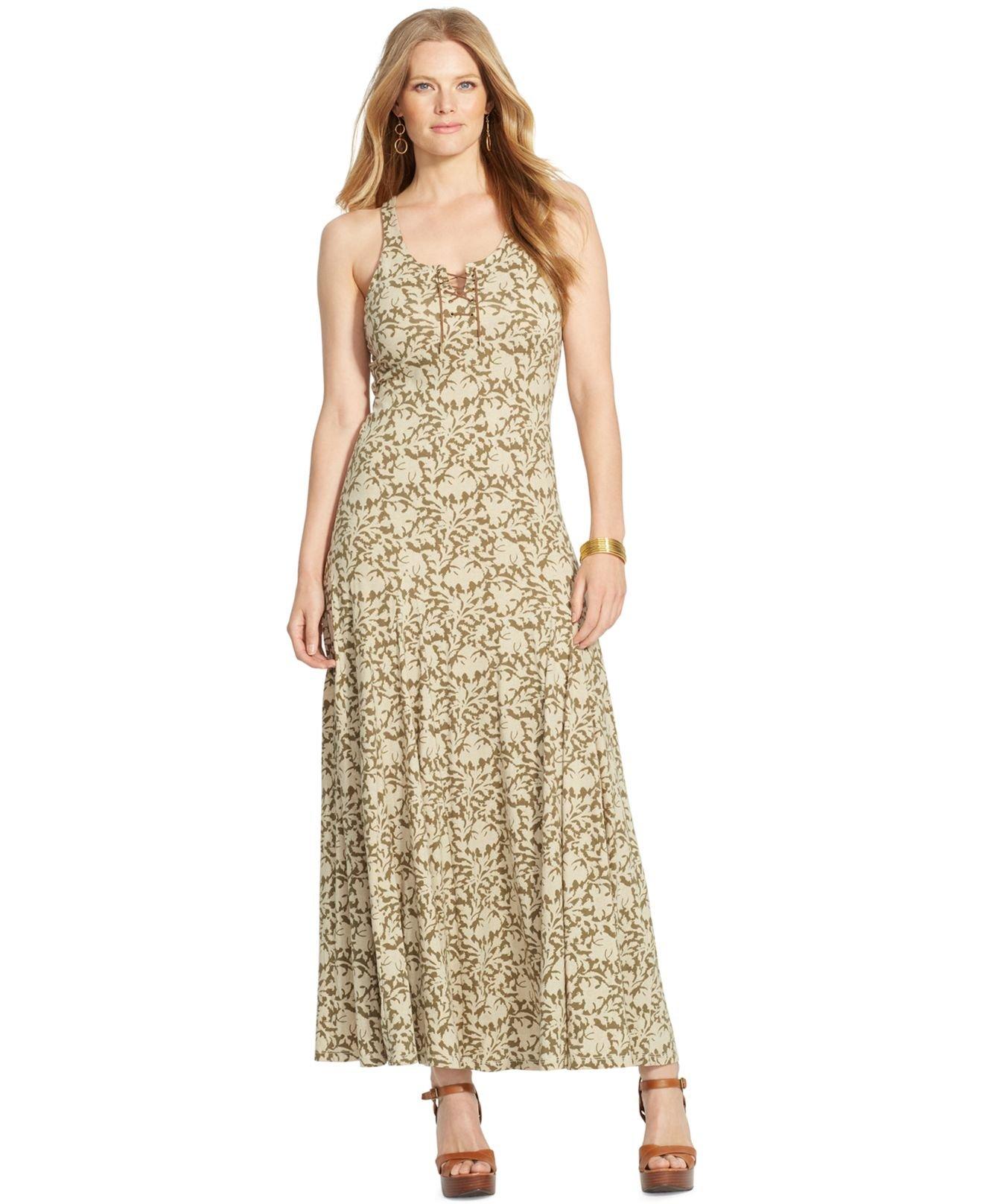 Lyst Lauren By Ralph Lauren Plus Size Lace Up Maxi Dress In Green