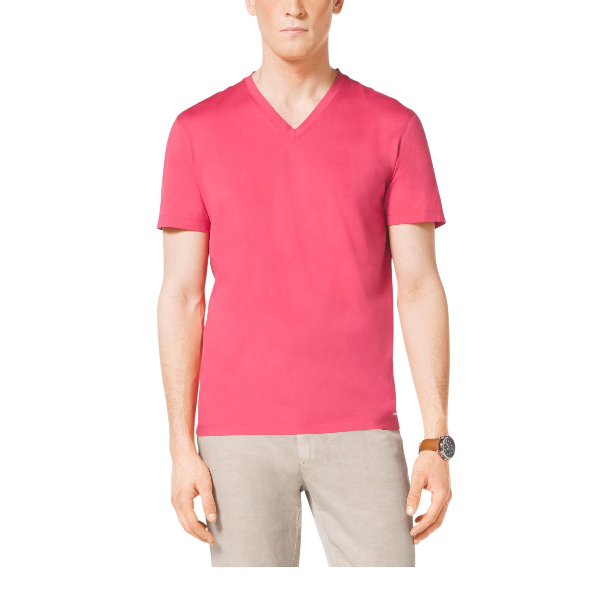 michael kors v neck cotton t shirt in red for men guava. Black Bedroom Furniture Sets. Home Design Ideas
