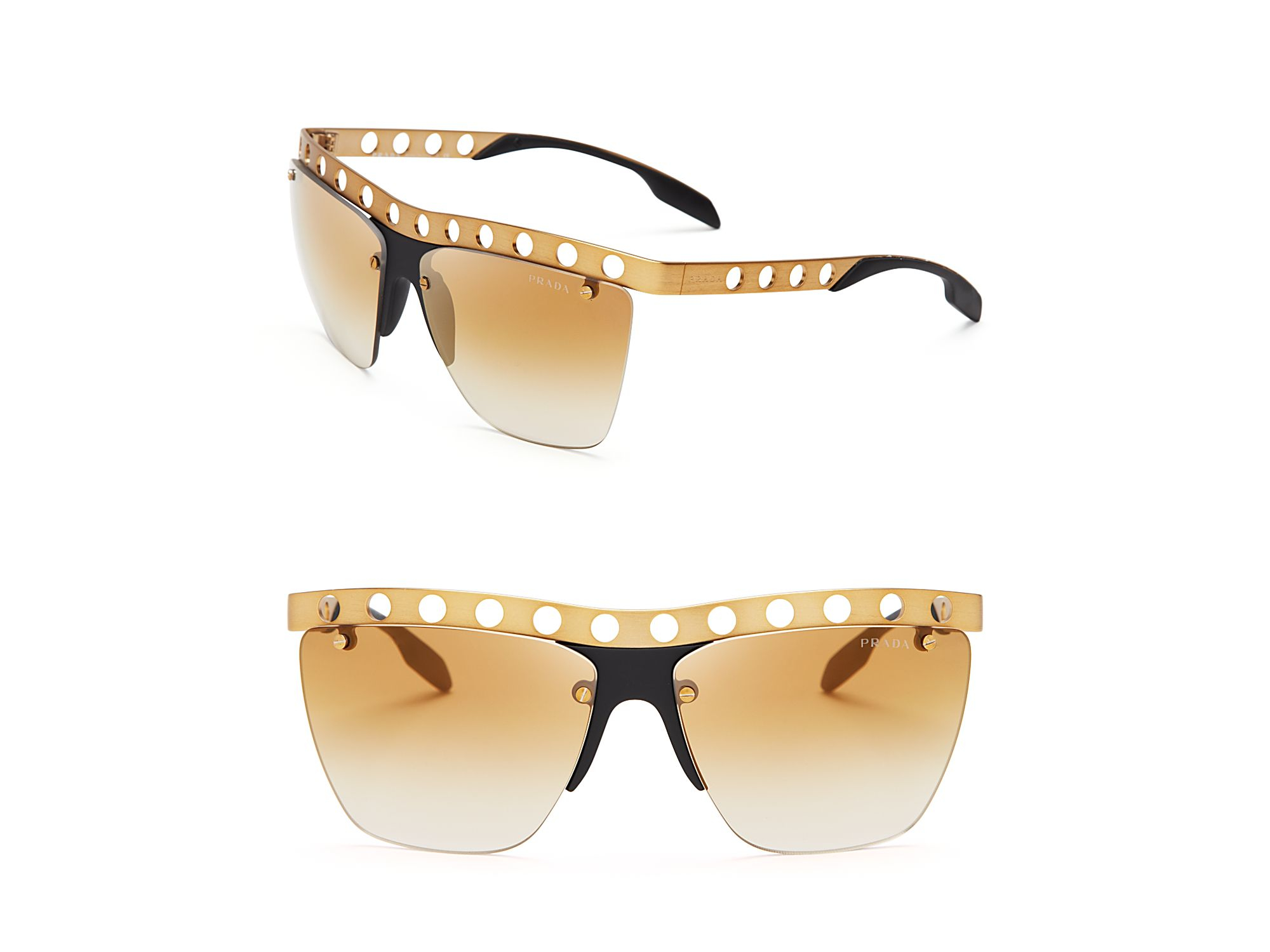 2545eace5ebc Lyst - Prada Perforated Mirrored Wayfarer Sunglasses in Metallic