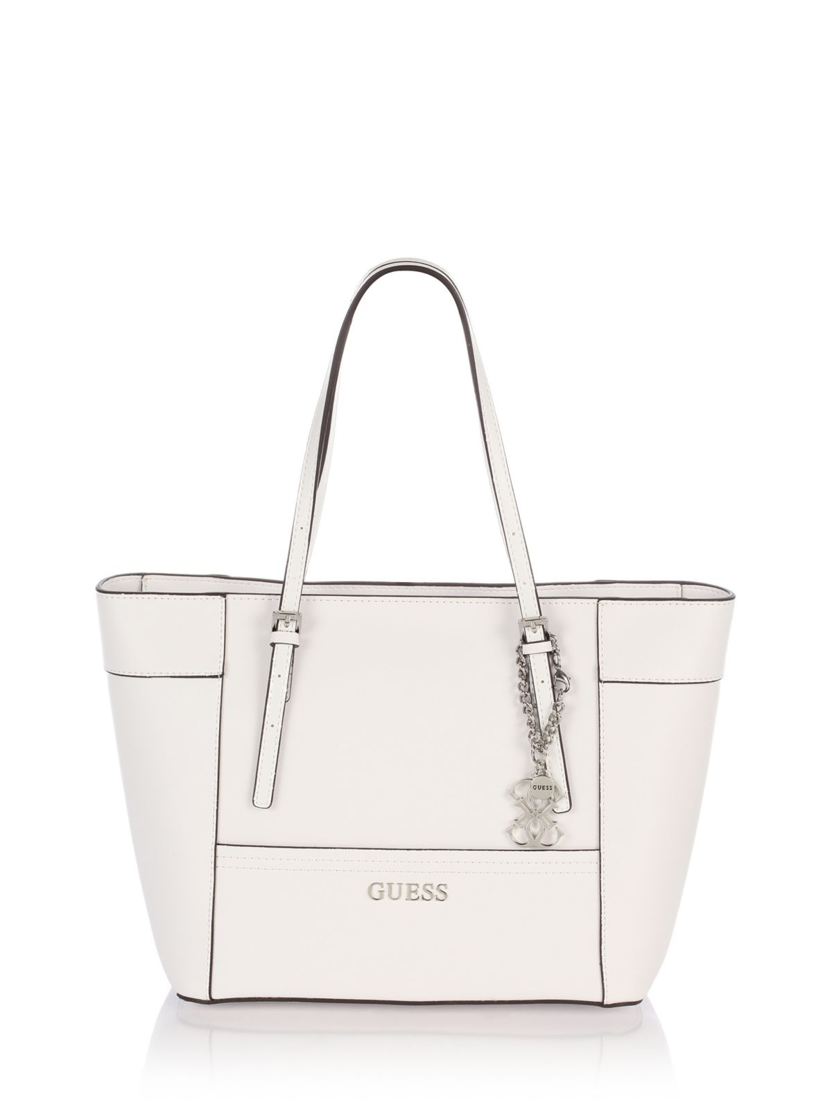 Guess Delaney Small Clic Tote Bag In White Lyst
