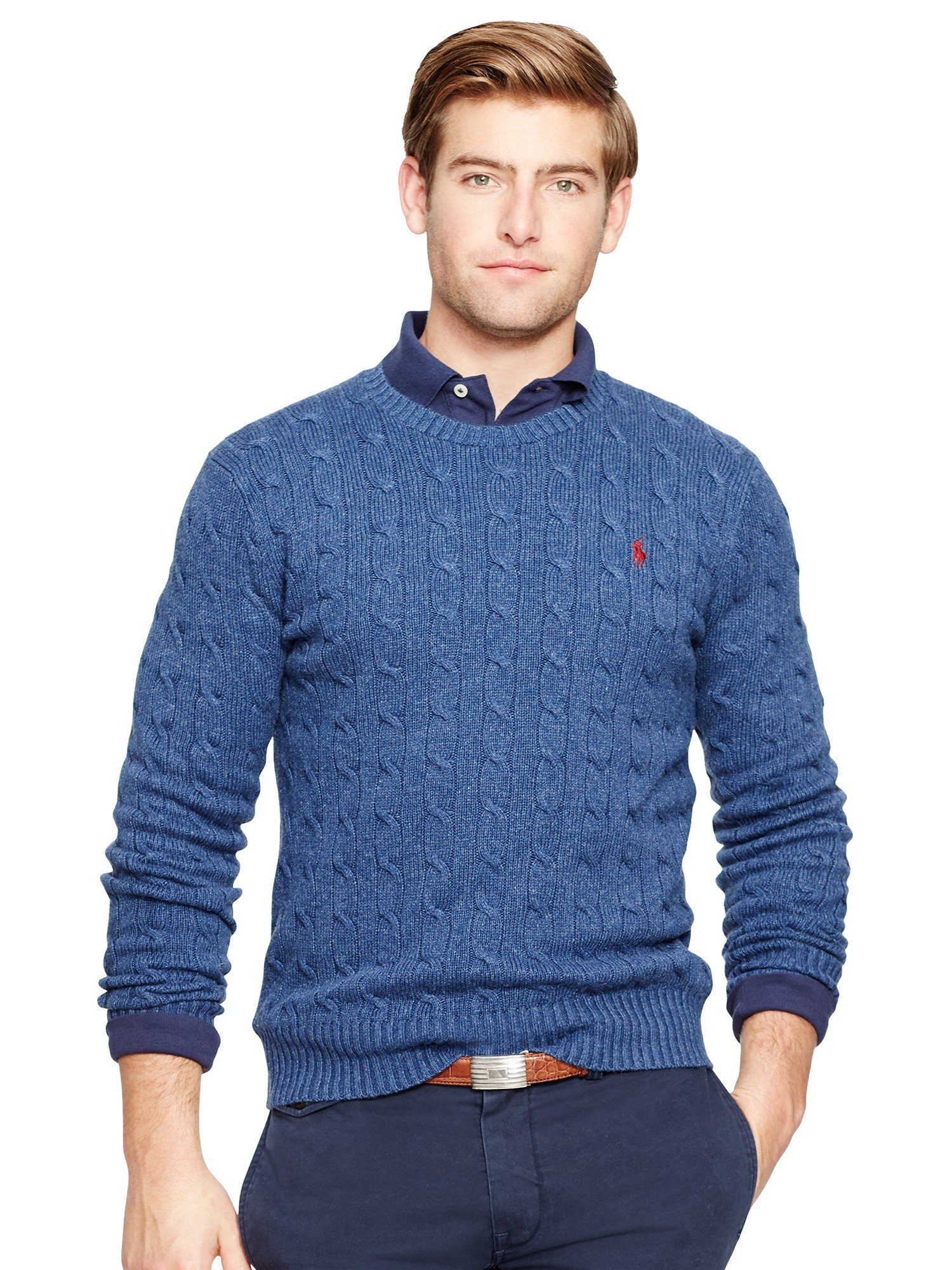 d3ebdc00688 Polo ralph lauren Tussah Silk Cable Knit Jumper in Blue for Men Lyst