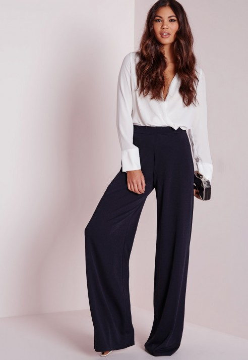 Missguided Crepe Wide Leg Trousers Navy in Blue | Lyst