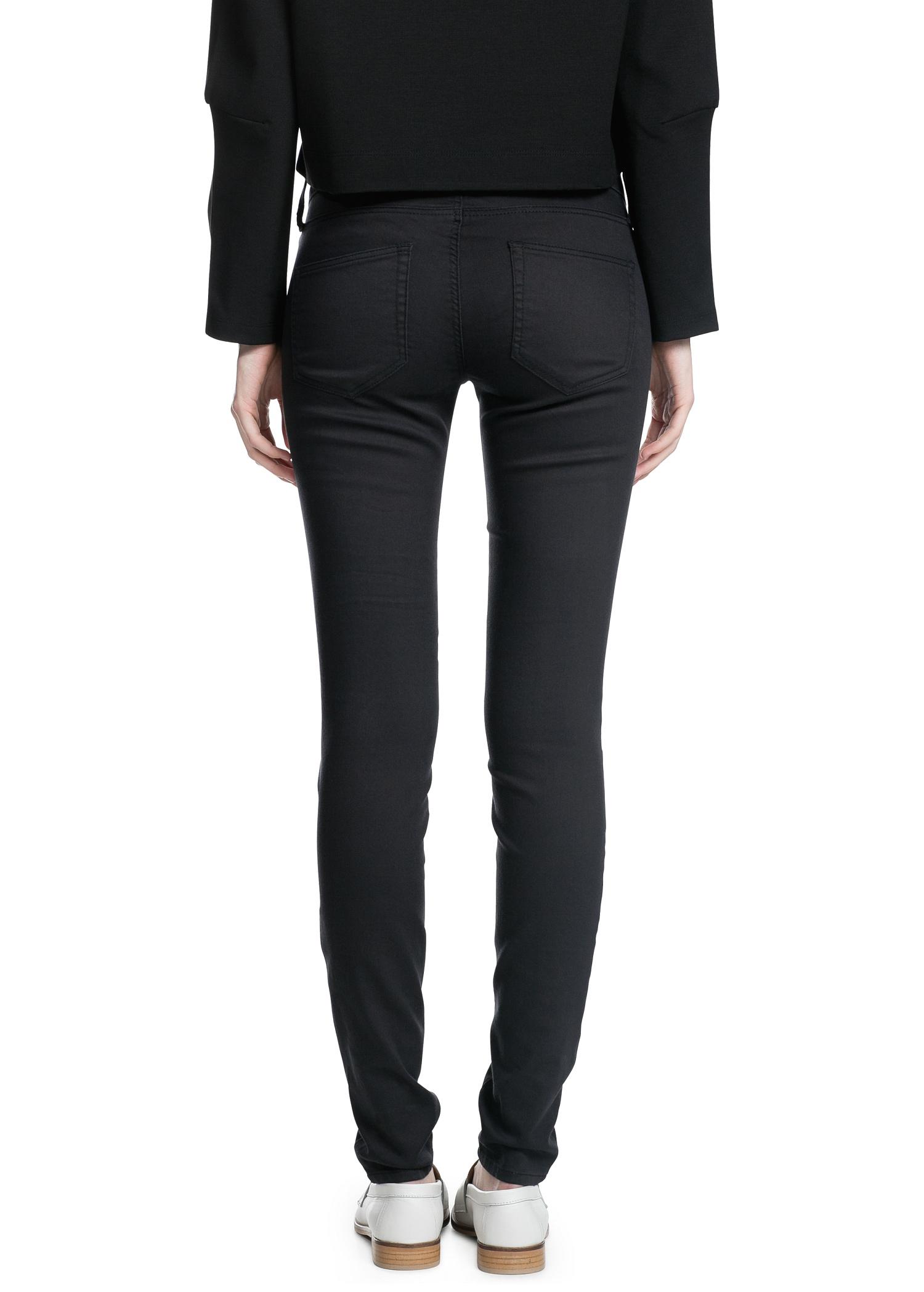 Lyst Mango Super Slim Fit Paty Jeans In Black