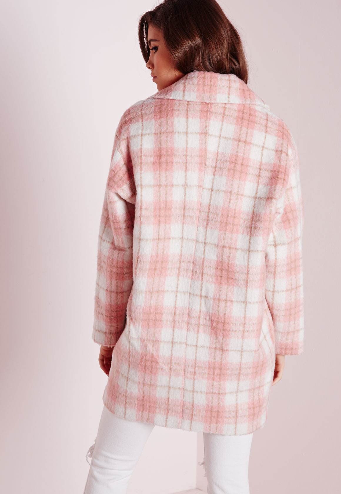 Missguided Lena Oversized Cocoon Coat Pink Check in Pink | Lyst