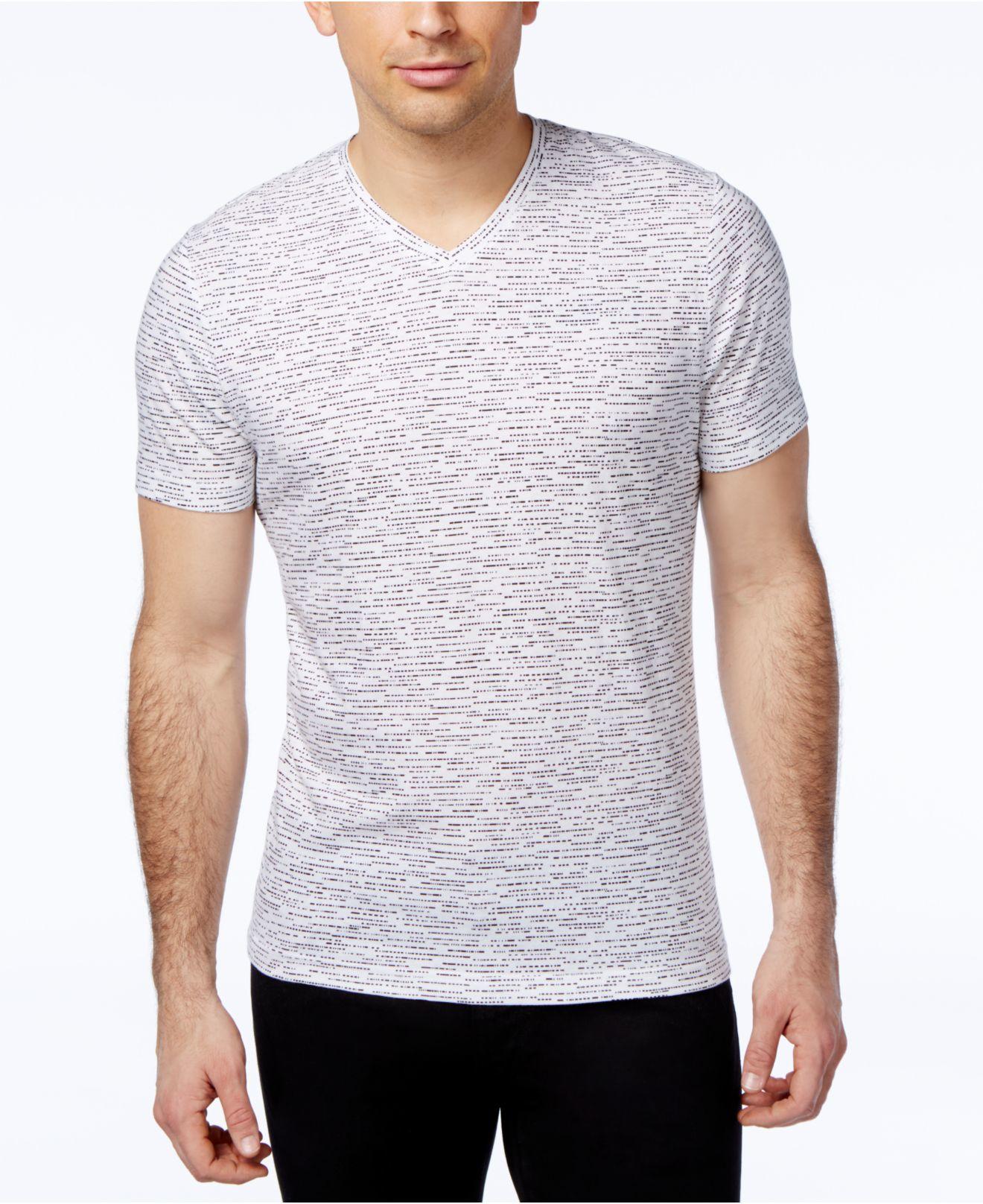 alfani s slim marled print v neck t shirt only at