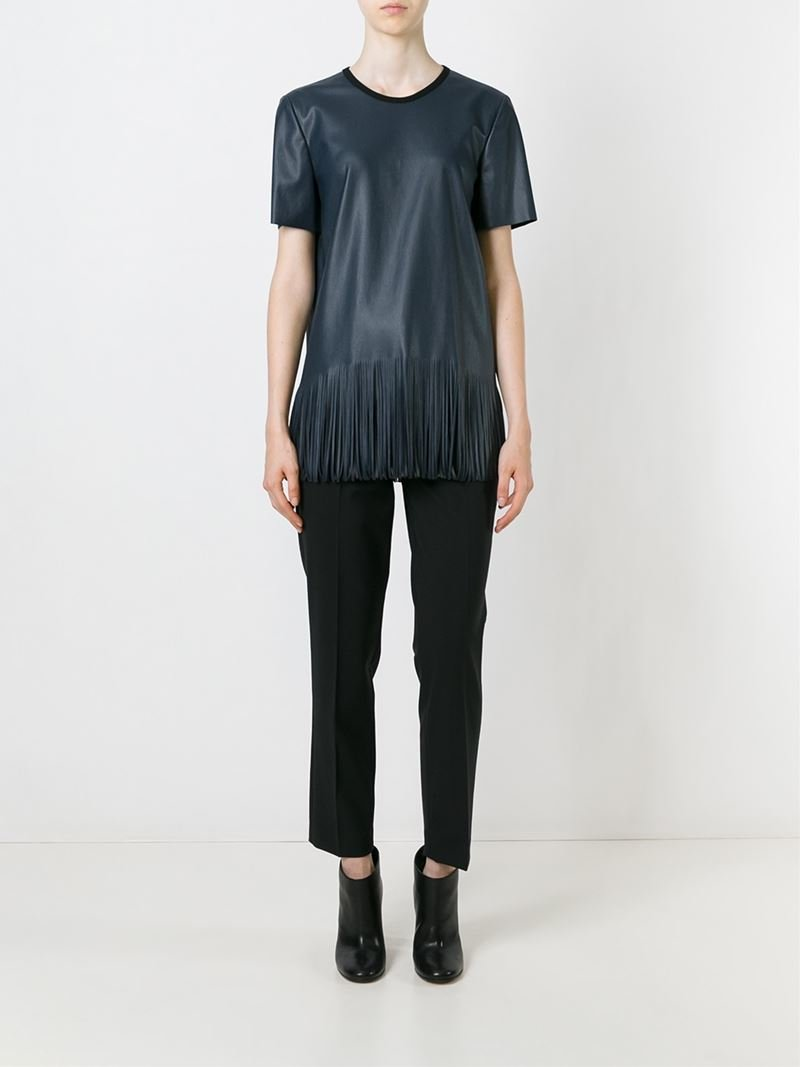 Lyst Cedric Charlier Fringed Faux Leather Top In Blue