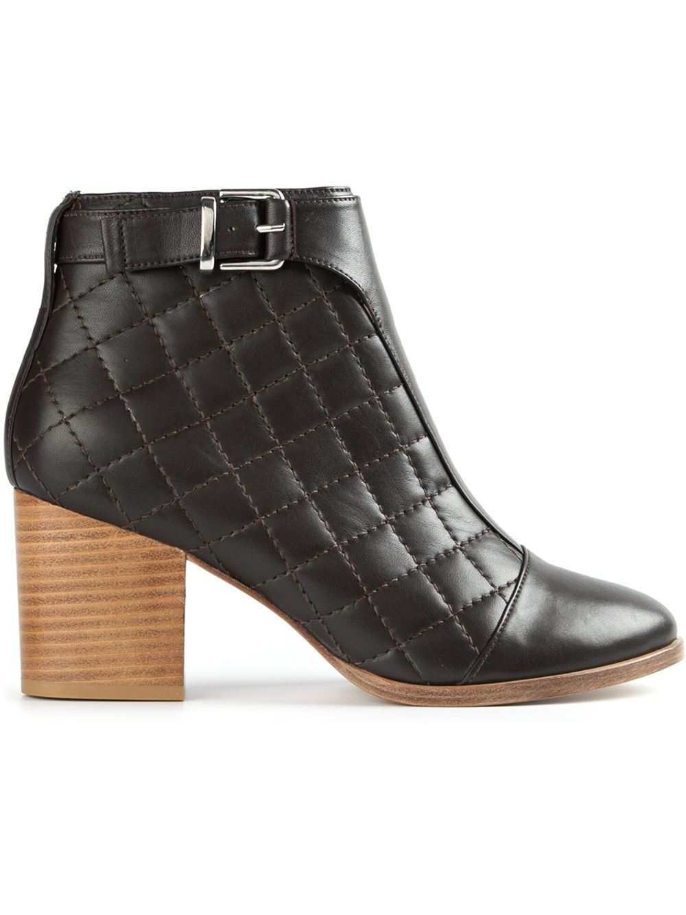 thakoon addition quilted ankle boots in brown lyst