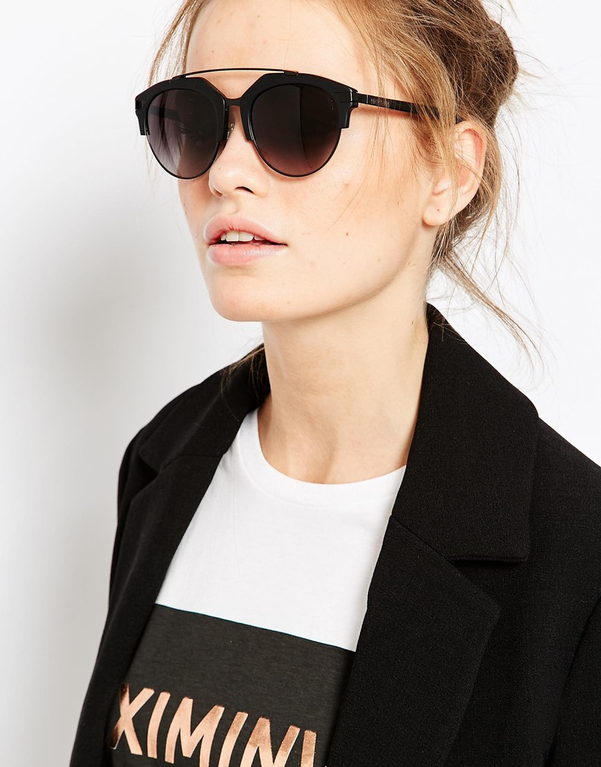 3ae61461a9e Lyst - Vivienne Westwood Anglomania Half Frame Round Sunglasses in Black