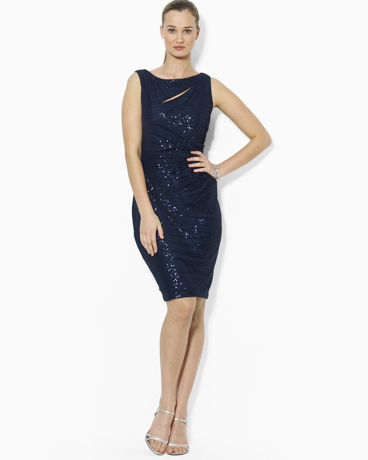 Lauren Ralph Lauren Väskor : Lyst ralph lauren dress boat neck sequin in blue