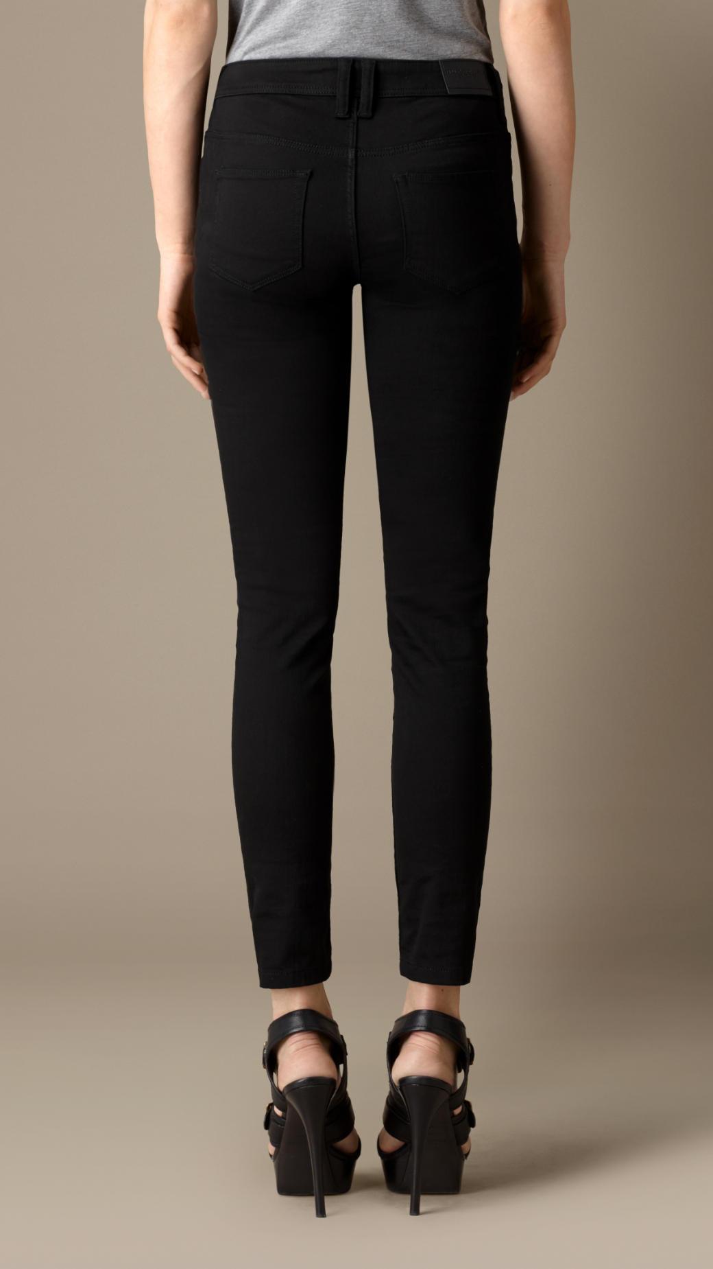 burberry slim fit regular rise power stretch jeans in black lyst. Black Bedroom Furniture Sets. Home Design Ideas